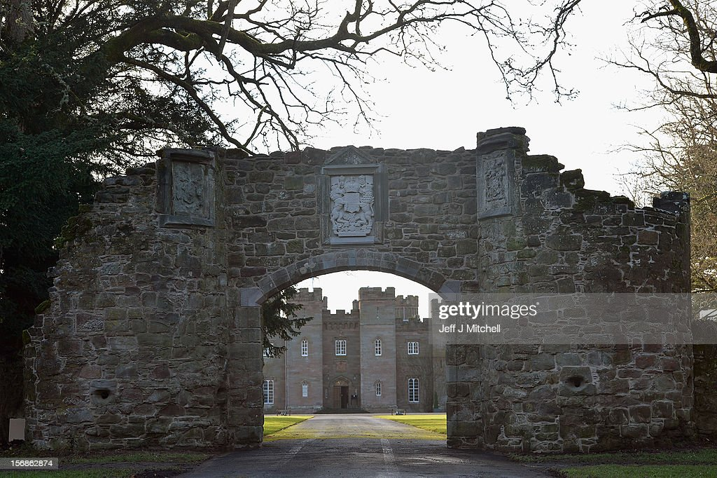 The restored historic archway at Scone Palace on November 23, 2012 in Perth,Scotland. The iconic 16th century arch, which was all that remained of the approach to the Augustinian Abbey which once stood on the Palace lawns, was destroyed after a contractor driving a van crashed into it two years ago. Scone Palace is best known as the place where former kings of Scotland were crowned and the original home of the Stone of Destiny.