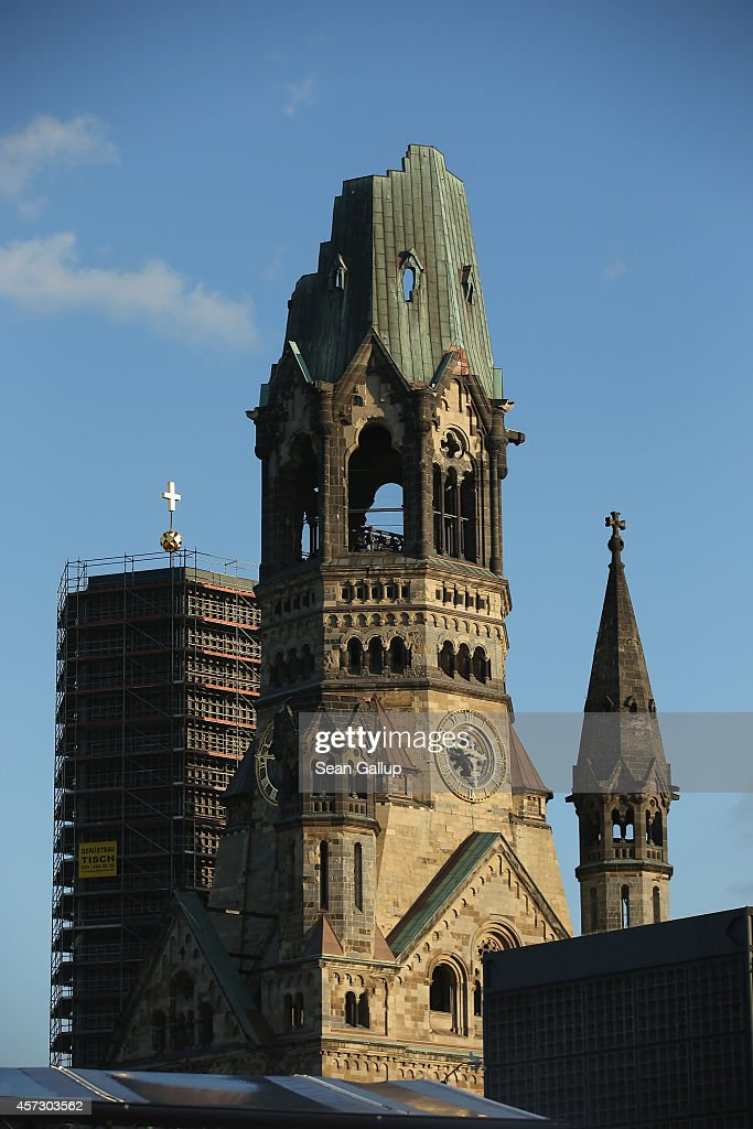 The restored Kaiser Wilhelm Memorial Church also called the Gedaechtniskirche stands on September 23 2014 in Berlin Germany The church was badly...