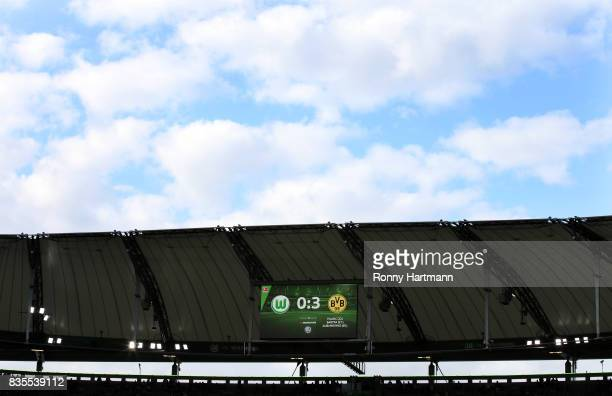 The result is seen on a score board after the Bundesliga match between VfL Wolfsburg and Borussia Dortmund at Volkswagen Arena on August 19 2017 in...