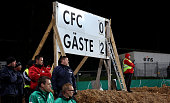 The result is seen on a scoreboard during the DFB Cup second round match between Chemnitzer FC and Werder Bremen at Stadion an der Gellertstrasse on...