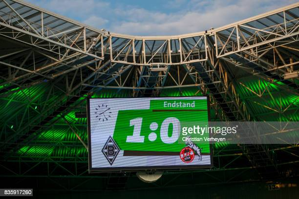 The result of the Bundesliga match between Borussia Moenchengladbach and 1 FC Koeln at BorussiaPark on August 20 2017 in Moenchengladbach Germany