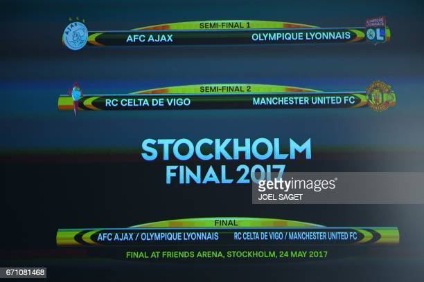 The result of the UEFA Europa league draw for the football competition's semifinals is pictured on a screen on April 21 2017 in Nyon / AFP PHOTO /...