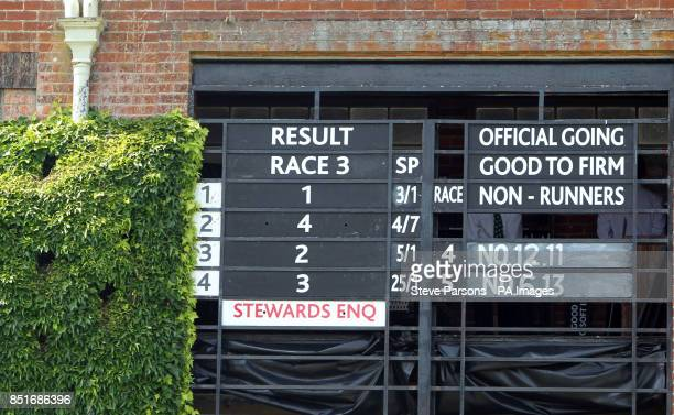 The results board after Elusive Kate ridden by William Buick beats Sky Lantern to win The EtihadAirways Falmouth Stakes during Abu Dhabi Gentlemen's...