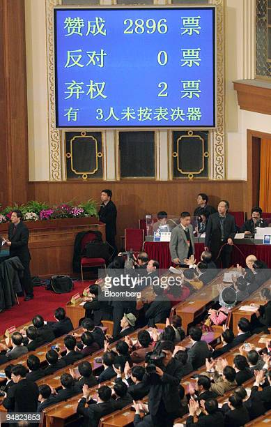 The results of a vote on an antisecession bill are displayed on a screen Monday March 14 2005 during the last session of the National People's...