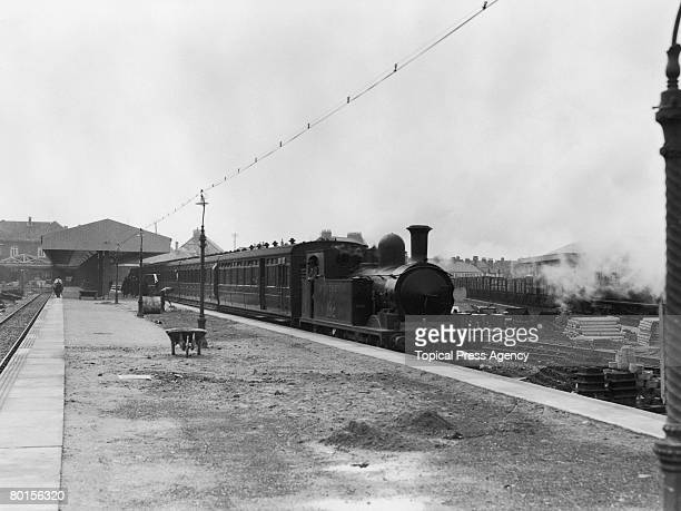 The resurfacing of the platform at Exmouth railway station in Devon September 1925