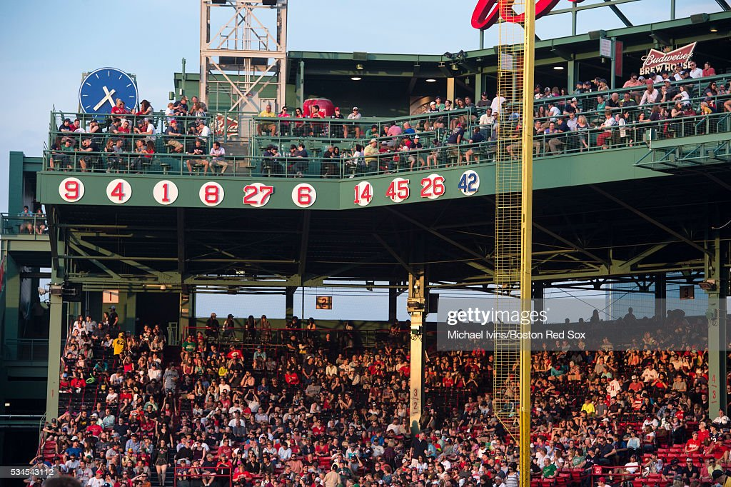 The retired numbers at Fenway Park include number 26 after the number of former Boston Red Sox third baseman <a gi-track='captionPersonalityLinkClicked' href=/galleries/search?phrase=Wade+Boggs&family=editorial&specificpeople=209175 ng-click='$event.stopPropagation()'>Wade Boggs</a> was retired on May 26, 2016 in Boston, Massachusetts. Boggs played 11 seasons and collected 2,098 hits as a member of the Red Sox.