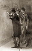 'The Return of Sherlock Holmes' by Sir Arthur Conan Doyle police detective Lestrade with Sherlock Holmes and Dr Watson From 'The Adventure of the...