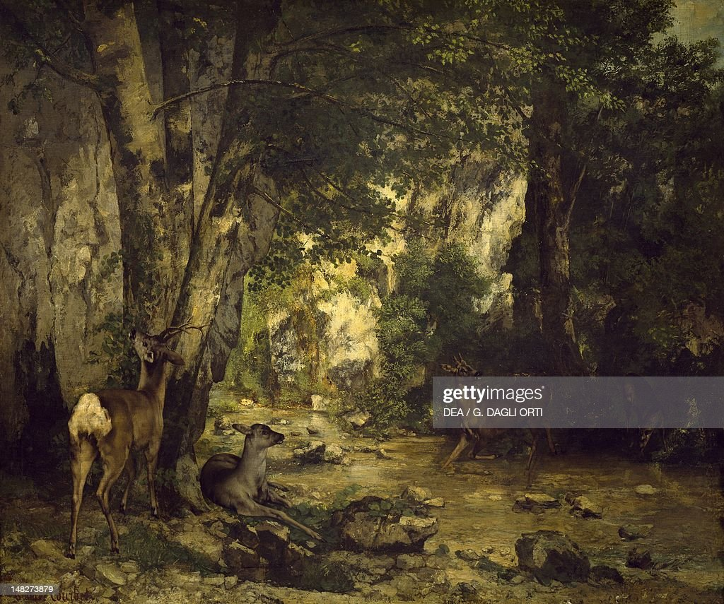 The Return of the Deer to the Stream at Plaisir Fontaine by Gustave Courbet oil on canvas 174x209 cm Paris Musée D'Orsay
