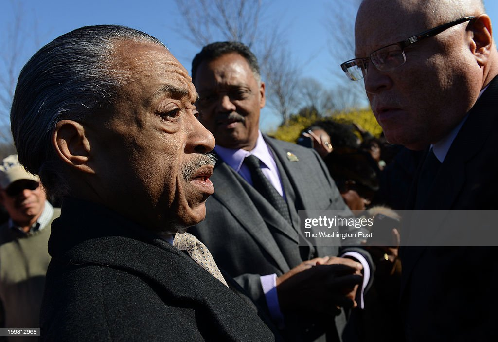 The Rev. Al Sharpton and Rev. Jesse Jackson at the Wreath-Laying Ceremony at the Martin Luther King Jr. Memorial in Washington, DC on January 20, 2013. It's the first wreath-laying ceremony since the Memorial was dedicated. Thousands flocked to the area today to pay tribute to the civil rights leader and his legacy. Notables at the ceremony were MLK's oldest son, Martin Luther King III, actor Jamie Foxx, The Rev. Al Sharpton, and Rev. Jesse Jackson.
