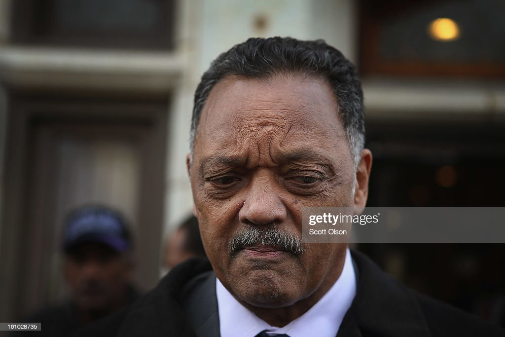 The Rev. Jesse Jackson leaves the wake of 15-year-old Hadiya Pendleton at the Calahan Funeral Home on February 8, 2013, in Chicago, Illinois. Hadiya was killed when a gunman opened fire on her and some friends as they stood under a shelter on a warm rainy afternoon in a park about a mile from President Obama's Chicago home. First lady Michelle Obama is expected to attend tomorrow's funeral with senior White House adviser Valerie Jarrett and Education Secretary Arne Duncan.