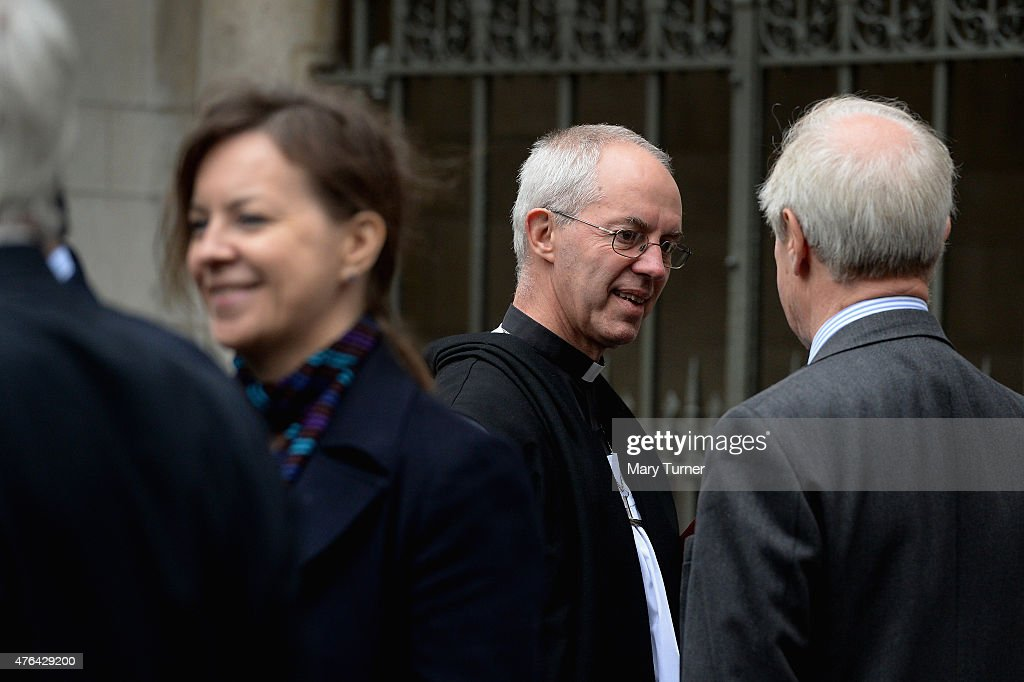 The Rev Justin Welby the Archbishop of Canterbury speaks to Members of Parliament and civil servants working in Westminster after the Service for the...