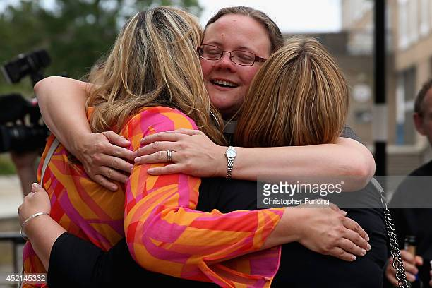 The Revd Dr Hannah Cleugh embraces church members after the Church of England General Synod gave their backing to the ordination of women bishops at...