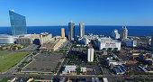 The Revel Atlantic City from left Atlantic City Showboat Inc Trump Taj Mahal Associates LLC Casino and MGM Resorts International stand in this aerial...