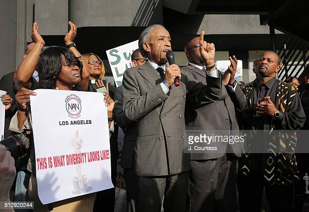 The Reverend Al Sharpton speaks at a rally before the Academy Awards Ceremony at Hollywood High School on February 28 2016 in Los Angeles California...