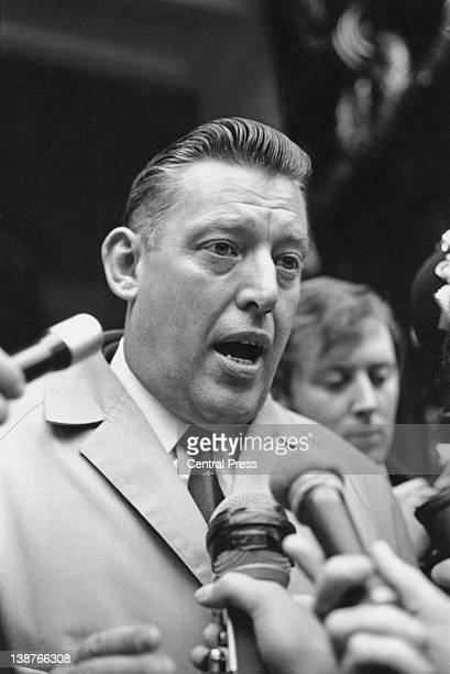 The Reverend Ian Paisley MP at Australia House protesting about his ban from Australia 12th December 1970 Church leaders in Australia were concerned...