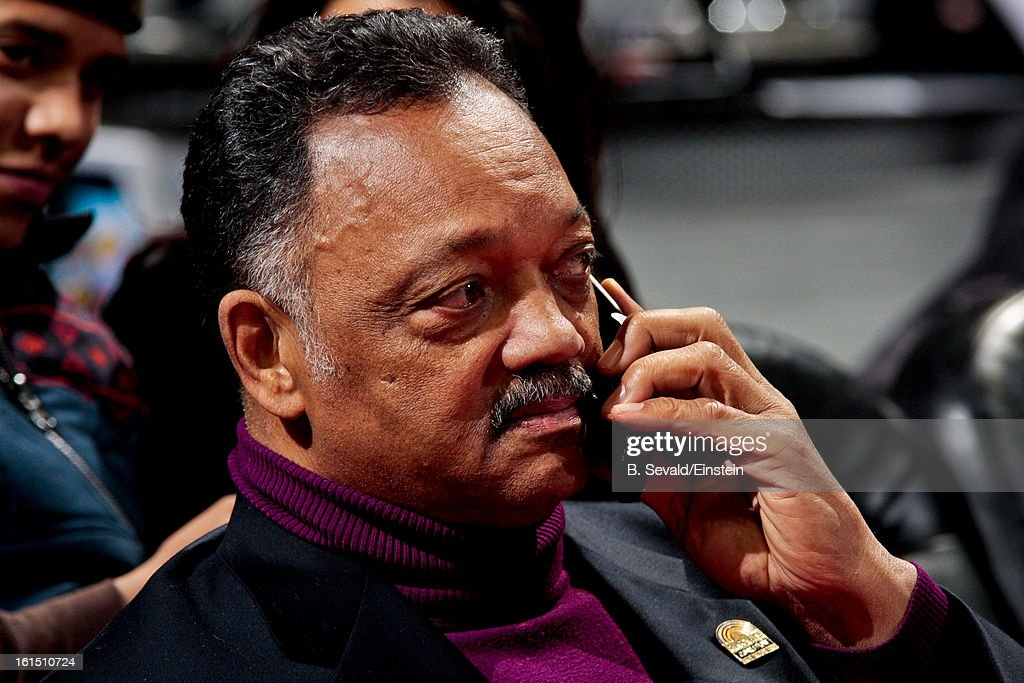 The Reverend Jesse Jackson attends a game between the New Orleans Hornets and Detroit Pistons on February 11, 2013 at The Palace of Auburn Hills in Auburn Hills, Michigan.