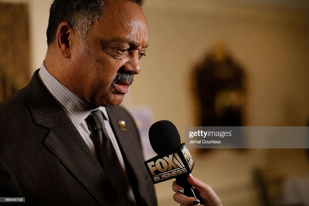 The Reverend Jesse Jackson speaks to the media during The 16th Annual Wall Street Project Economic Summit - Day 1 at The Roosevelt Hotel on January 31, 2013 in New York City.
