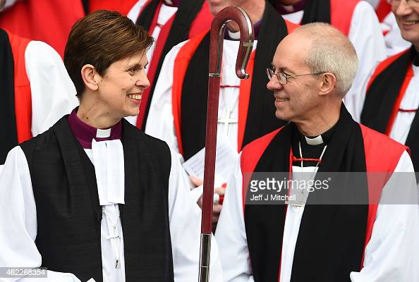 The Reverend Libby Lane smiles at the Archbishop of Canterbury Justin Welby outside York Minster after she was consecrated as the eighth Bishop of...