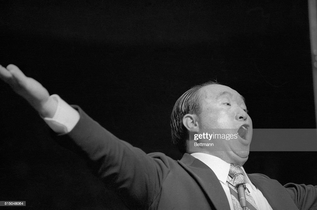 The Reverend <a gi-track='captionPersonalityLinkClicked' href=/galleries/search?phrase=Sun+Myung+Moon&family=editorial&specificpeople=773635 ng-click='$event.stopPropagation()'>Sun Myung Moon</a> and one of his top aides were indicted on charges of filing false income tax returns. A 12-count indictment accused Moon and aide Takeru Kamiya of failing to report income of $112,000 in interest and $50,000 in stocks.