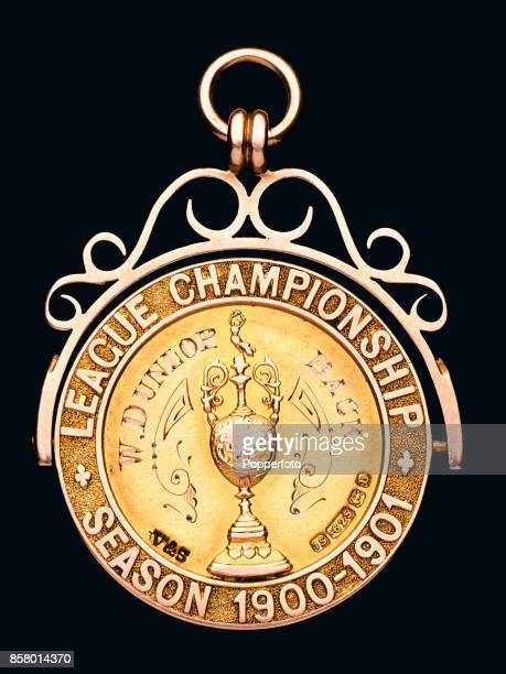 The reverse of the 19001901 Football League Division One Championship medal awarded to Scottish leftback Billy Dunlop of Liverpool Football Club...