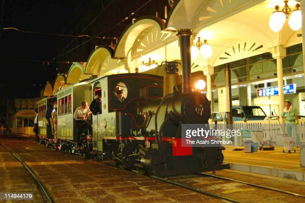 The revived Bocchan Ressha train is seen during the test drive at Matsuyama Station on October 1 2001 in Matsuyama Ehime Japan