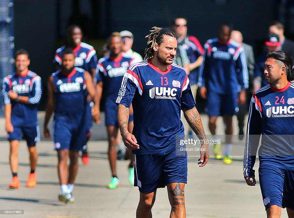 The Revolution's newest player, Jermaine Jones practiced with the team for the first time. He walks on to the field with the team.