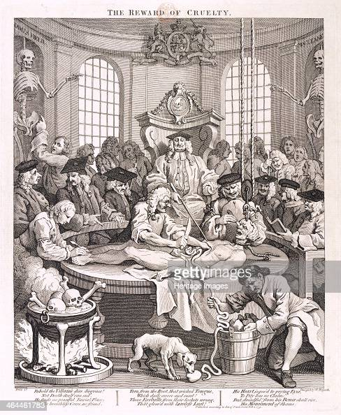 'The Reward of Cruelty' plate IV from The Four Stages of Cruelty 1751 Tom Nero having been hanged for murder is undergoing dissection theatre The...