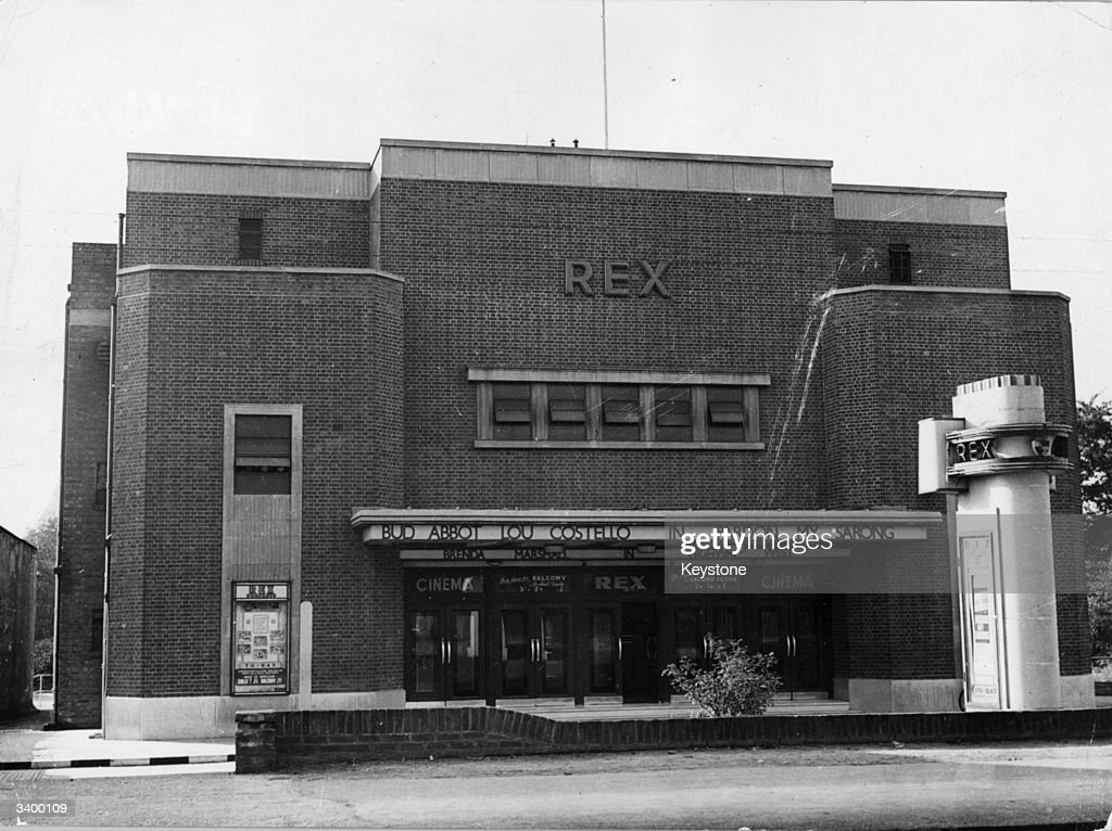 The Rex Cinema in Farnborough which is showing the Abbott and Costello film 'Pardon My Sarong'.