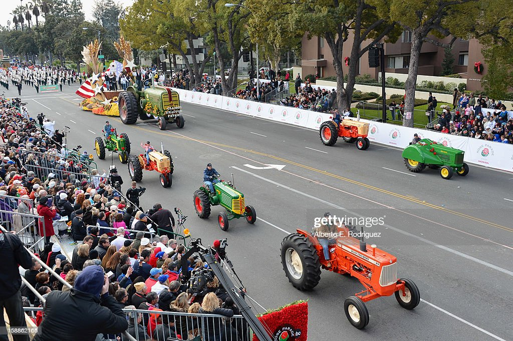 The RFD-TV 'Classic Tractor Fever' float participates in the 124th Tournamernt of Roses Parade on January 1, 2013 in Pasadena, California.