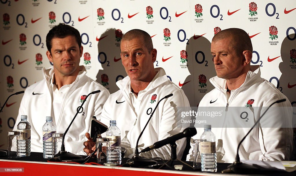The RFU interim coaching team of Stuart Lancaster head coach Andy Farrell and Graham Rowntree at at press conference held to announce the interim...