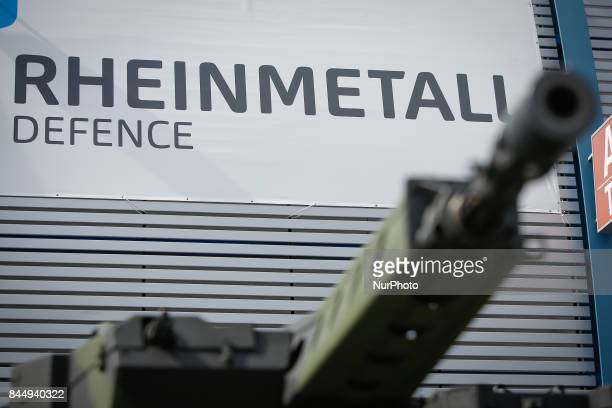 The Rheinmetall logo is seen above the turret of a Boxer vehicle at the 25th International Defence Industry Exhibition on 8 September 2017