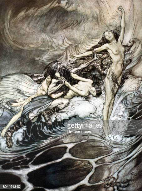 The Rhine Maidens obtain possession of the ring and bear it off in triumph' 1924 Illustration from Siegfried and the Twilight of the Gods As the fire...