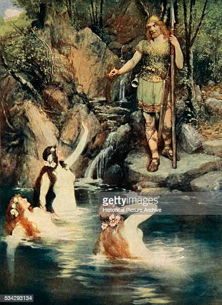 'The Rhinemaidens are tricked by Alberich and the ring is taken Illustration by Ferdinand Leeke from ''The Stories of Wagner's Operas'' by J Walker...