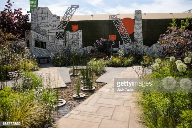 The 'RHS Greening Grey Britain Garden' on display at the Chelsea Flower Show on May 22 2017 in London England The prestigious Chelsea Flower Show...
