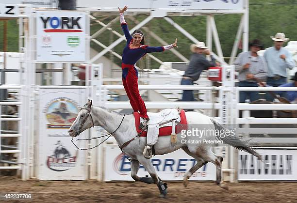 The Riata Ranch Cowboy Girls perform at the Prescott Frontier Days 'World's Oldest Rodeo' on July 5 2014 in Prescott Arizona