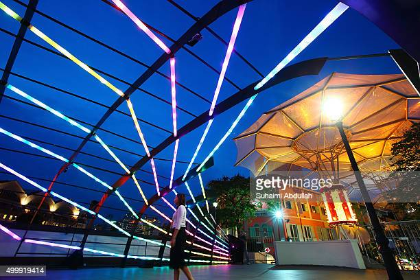 The RIBbon @ Read Bridge light installation is illuminated ahead of the Christmas by the River launch on December 3 2015 in Singapore The interactive...
