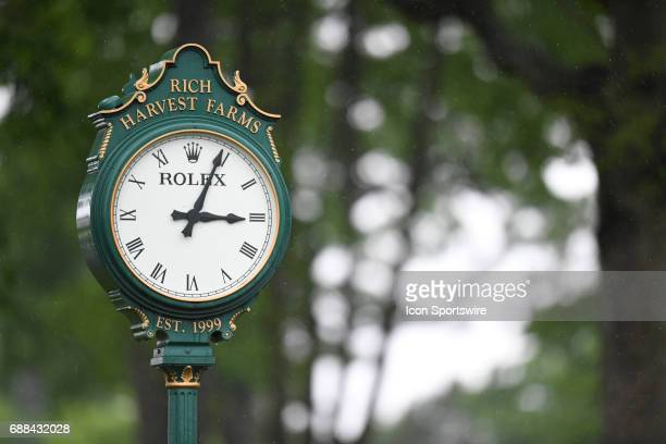The Rich Harvest Farms' Rolex clock outside of the first hole during the NCAA Division 1 Women's golf championship semifinals on May 23 at Rich...