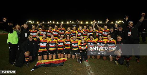 The Richmond Ladies players celebrate with the Ladies Premiership trophy after their victory in the Ladies Premiership Final match between Richmond...
