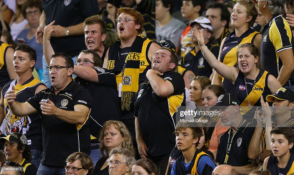 The Richmond Tigers fans react after a North Melbourne Kangaroos goal during the round one AFL NAB Cup match between the Richmond Tigers and the the North Melbourne Kangaroos at Etihad Stadium on February 22, 2013 in Melbourne, Australia.