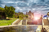 The rideau canal in Ottawa, sunset in background.