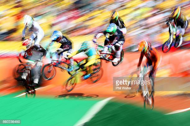 The riders compete during the Men's BMX Semi Final1 on day 14 of the Rio 2016 Olympic Games at the Olympic BMX Centre on August 19 2016 in Rio de...