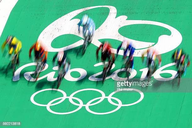 The riders compete during the Women's Semi Final 1on day 14 of the Rio 2016 Olympic Games at the Olympic BMX Centre on August 19 2016 in Rio de...