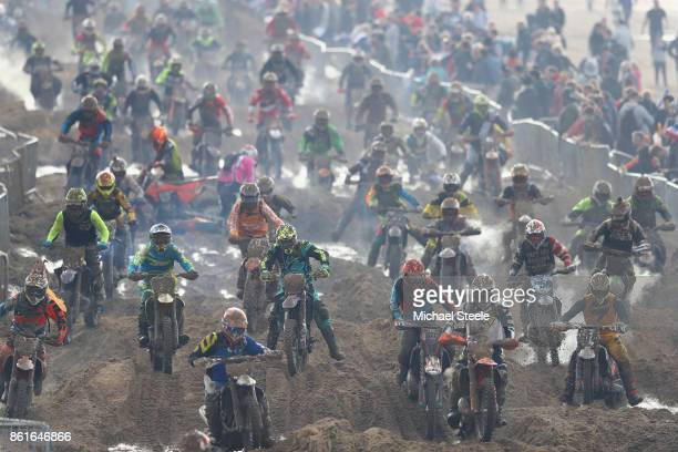 The riders compete in the Adult Solo race during day two of the HydroGarden Weston Beach Race on October 15 2017 in WestonSuperMare England