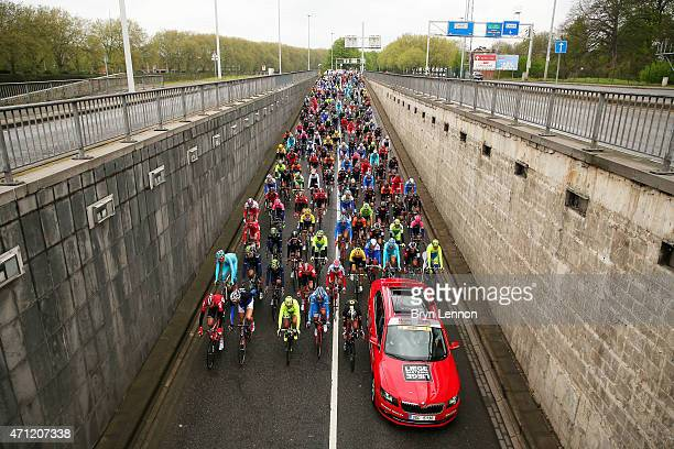 The riders gather at the start during the 101st LiegeBastogneLiege cycle road race on April 26 2015 in Liege Belgium
