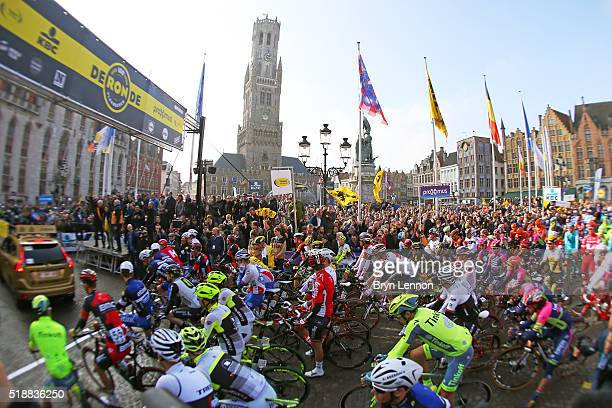 The riders gather at the start prior to the 100th edition of the Tour of Flanders from Bruges to Oudenaarde on April 3 2016 in Bruges Belgium