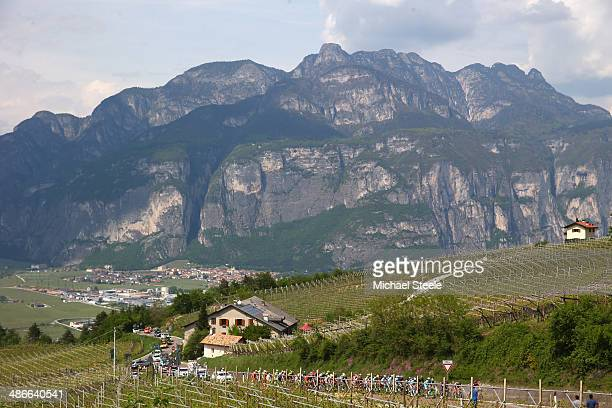The riders head up the climb of Palu di GiovaMaso Roncador during stage four of the Giro del Trentino from Val Daone to Monte Bondone on April 25...