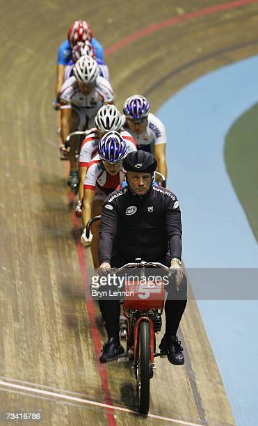 The riders line up behind the 'Derny' motorcyclist for the Women's Keirin race during the UCI Track Cycling World Cup Classic at the Manchester...