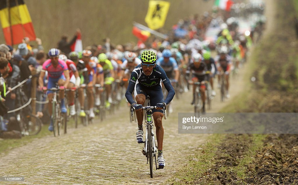 The riders make their way through the Arenberg forest during the 2012 Paris Roubaix cycle race from Compiegne to Roubaix on April 8, 2012 in Wallers, France. The 110th edition of the race is 257km long with 51.5km of cobbles spread over 27 sections.