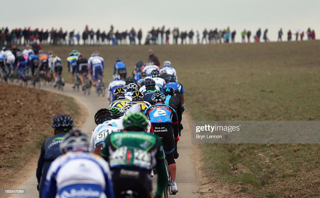 The riders make their way through the Belgian countryside during the 97th Tour of Flanders from Brugge to Oudenaarde on March 31, 2013 in Oudenaarde, Belgium.