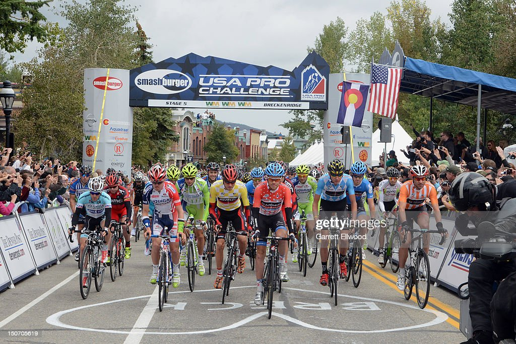 The riders pull away from the start line during Stage Five of the USA Pro Challenge from Breckenridge to Colorado Springs on August 24, 2012 in Breckenridge, Colorado. Copyright 2012
